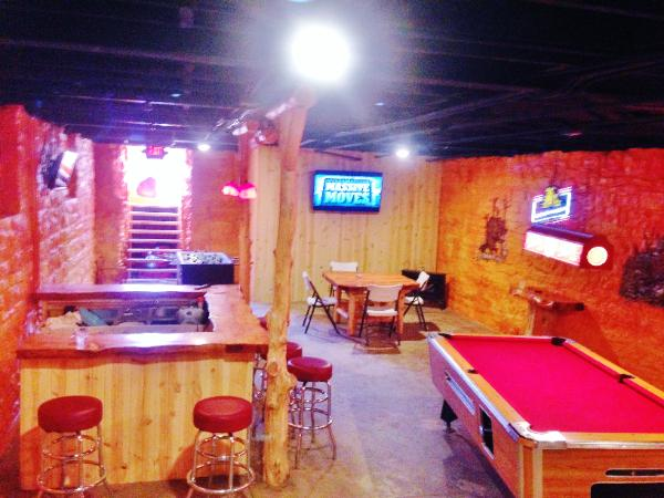 the party room is done called the beaver den for all your meetings
